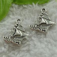 free ship 140 pcs tibet silver sailing boat charms 18x18mm #3663