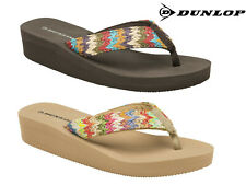 Ladies Womens Summer Sandals Dunlop Low Wedge Toe Post Holiday Beach Flip Flops