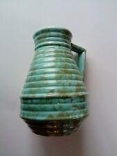 Vintage Pottery Ceramic Vase green turquoise angled handle retro ridges