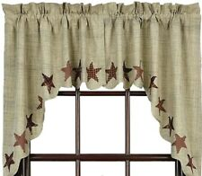 Country Frayed Patch Window Swag Set Cream & Gray Slub Weave Lined Abilene Star