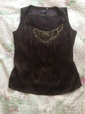 PRICIPLES PETITE 100% Silk Embellished Top- size 10. Chocolate Brown Tried Once