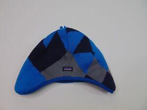 Patagonia Baby Infant 24M Reversible Bean Hat Fleece Blue Boy