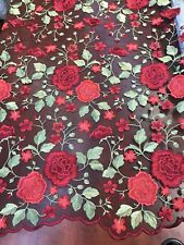RED-BLACK MULTI COLOR FLORAL DESIGN EMBROIDER ON A MESH LACE-SOLD BY YARD.