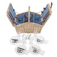 Weiden Picknick Korb Picknickkorb für 4 Personen + Besteck + Teller + Sektgläser