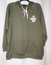 NEW WOMENS PLUS SIZE 3X OLIVE GREEN ME? FLUENT IN SARCASM? DROP YOKE SWEATSHIRT