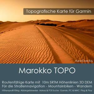 Marokko Topo Karte 10m Höhenlinien 4GB microSD für Garmin Navi, PC & MAC