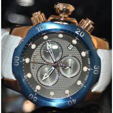 Invicta Mens Rare Venom Swiss Reserve Chrono Grey Dial White Leather Watch 16152