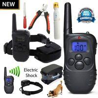 300 Yard Electric Waterproof LCD Shock Vibra Remote Pet Dog Training Collar Kits