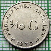 NETHERLANDS ANTILLES JULIANA 1970 1/10 GULDEN 10 CENTS, SILVER UNC