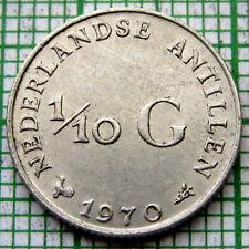 NETHERLANDS ANTILLES JULIANA 1970 1/10 GULDEN 10 CENTS, SILVER UNC