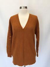 JCREW Cashmere V-neck Eyelet Sweater Brown Cognac Sz S Small