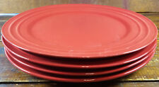 """4 Pc Set Rachael Ray Double Ridge Red Bands Meyer Stoneware 11 1/4"""" Dinner Plate"""