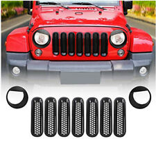 Front Grille Mesh Inserts+Bezels Headlight Trim Cover for Jeep Wrangler JK 07-17