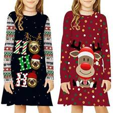 Kids Girls Christmas Xmas Santa Long Sleeve Shirt Dress Cartoon Reindeer Printed