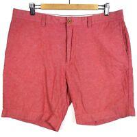 "J Crew 9"" Gramercy Flat Front Cotton Chino Shorts Men's 36W Red Chambray E7954"