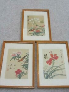 3 Chinese Watercolours on Silk with Birds Butterflies and Flowers