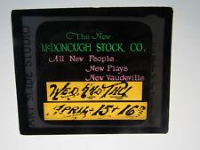 1920s Colored Glass Slide Sonoma County Vaudeville McDonough Stock Company Ad