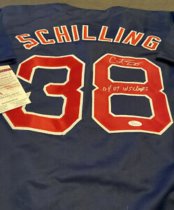 "Curt Schilling Signed Boston Blue Jersey Inscribed ""04 07 WS Champs"" JSA COA~XL~"