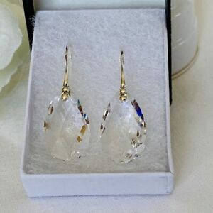 Made With Swarovski® Crystals 925 Silver Clear Crystal Drop Earrings Pear Tear