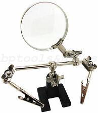 NEW ADJUSTABLE HELPING HAND TOOL HOBBY TOOL w/ MAGNIFYING GLASS JEWELRY REPAIR