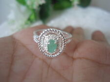 Sterling Silver DESIGNER Braided Prong-Set Natural EMERALD Crystal 2.8 Ring S7.0
