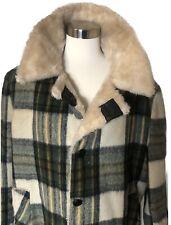Vintage Hudson's Bay Mens Wool Coat Plaid Trendy 70's Faux Fur Lined Size 46