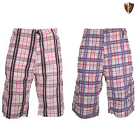 New Mens Cutting Edge Long 100% Cotton Cargo Combat 3/4 Summer Check Shorts