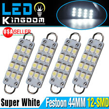 4x Super White 44MM Festoon 12-SMD Rigid Loop LED Interior Dome light Bulb 561