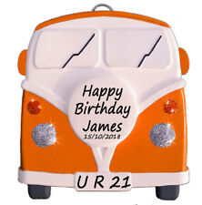 VW style Camper Van - Personalised in ORANGE - Birthday Gifts  - Truly for You