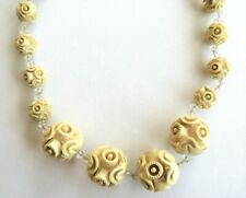 "W Crystal Spacers 19"" Graduated Beads Vtg Antique Carved Roses Beaded Necklace"