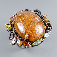 Vintage30ct+ Natural Rutilated Quartz 925 Sterling Silver Ring Size 9/R125665