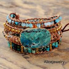 Handmade Natural Chrysocolla Stone Beaded Leather Wrap Bracelet Cuff Bangle Boho