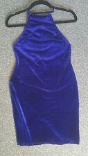 REGNO Unito 8 Missguided Electric Blu Navy Ocean Blue Velvet Canotta Abito Crossover Open Back