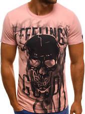 T-Shirt Kurzarm Rundhals Classic Fitness Aufdruck Herren OZONEE 7396 MIX 7M7