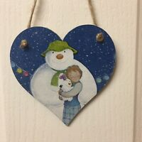The Snowman And Snow Dog wooden hanging Heart Christmas Decoration 12cm