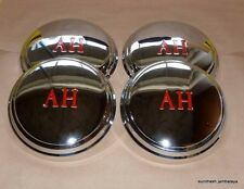"NEW Austin Healey Sprite HUBCAP SET Chrome with Red ""AH"" bugeye frogeye"