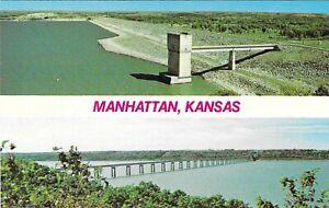 Vintage Kansas Chrome Postcard Manhattan Tuttle Creek Reservoir Randolph Bridge