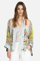 Johnny Was Esme Kimono Yellow Short Multi Colored Rayon Jacket Embroidery New L