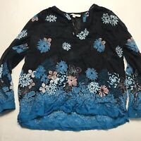 LOFT Black Blue Pink Floral Print Long Sleeve Popover Blouse Size SP a278