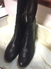ladies black high leather boots 61/2