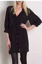 "JOIE Black Silk Ruffle  ""Claude"" Shirt Dress        Retail $298.  Size Small"