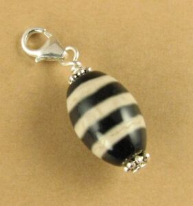 Tibetan dzi /zee bead clip on charm.  Black / white. Sterling silver 925.