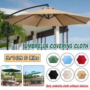 6.5'/10' Umbrella Replacement Canopy 6 Rib Outdoor Patio Top Cover Waterproof