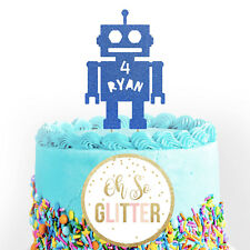 CUSTOM NAME Robot cake topper Android Robot Glitter Cake Topper customised Robot