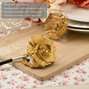 50 Ornate Matte Gold Rose Compact Mirror Wedding Bridal Shower Party Favors