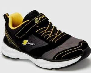 Skechers S Sport LAPSE BOYS SNEAKERS - Black with Yellow - No Tie Laces- Size 1