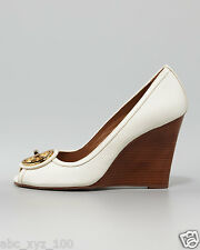 NIB Tory Burch Leather Selma Open-Toe Logo Wedges Shoes White 9 M
