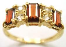 FINE 9CT SOLID YELLOW GOLD GARNET AND WHITE TOPAZ RING    SYJEWELLERY    R1119