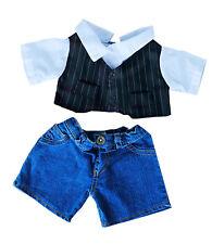 "Pinstripe Vest Dress Shirt & Denim Pants Teddy Bear Clothes Fits Most 14""-18"" Bu"