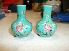 Pair of Miniature 2 inch Famille Verde vases c1900